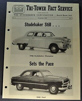 1948 Studebaker Champion vs 1949 Ford Tri-Tower Fact Brochure Excellent Original