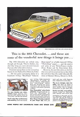 VINTAGE CHEVY AUTO ADVERTISING ORIGINAL 1953 MAGAZINE PAGE # 93 of MANY