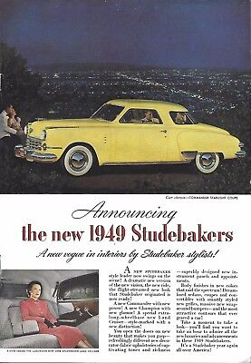 VINTAGE STUDEBAKER AUTO ADVERTISING ORIGINAL 1949 MAGAZINE PAGE # 94 of MANY