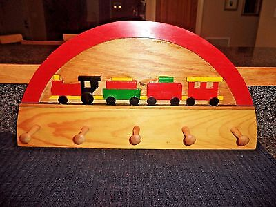 Children's Choo Choo Train 5 Peg Coat, Clothes, Hat Rack, Nursery, Bedroom Art