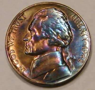 1942 S  Jefferson Silver Nickel Rainbow High grade toned US Mint Coin D153