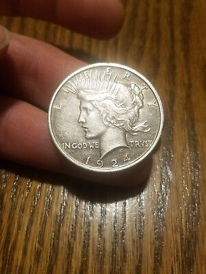Original 1924 Silver $1 United States Peace Dollar Coin