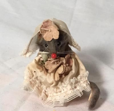 Original  Fur Toys Wedding Bride Girl Mice Little Mouse Factory West Germany