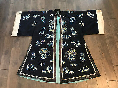 Antique Chinese Qing Dynasty Silk Embroidered Robe Butterfly & Floral Decoration