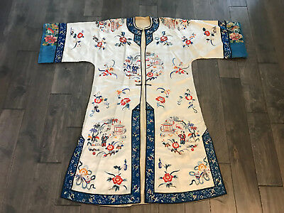 Antique Chinese Qing Dynasty Silk Embroidered Robe Child Pagoda Floral Dec.