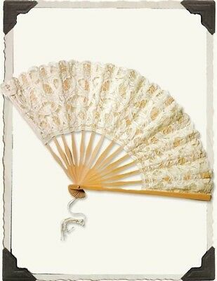 Victorian Trading Co Ivory Battenburg Lace Folding Fan Hand Wedding NWD
