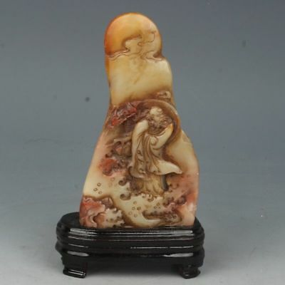 Chinese Exquisite Hand-carved Lohan carving Shoushan Stone seal