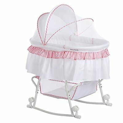 Dream On Me Lacy Portable 2-in-1 Bassinet And Cradle Pink And White Infant New