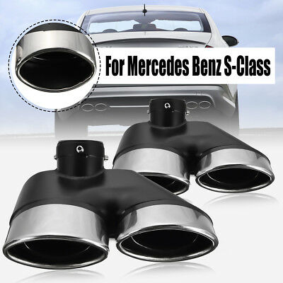 Pair Exhaust Muffler Dual Pipe Tips For Mercedes-Benz S500 S450 W220 00-06 AMG