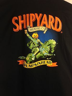 Shipyard Brewing Co. Shirt, MEN'S Large, Black, Pumpkinhead (NEW)