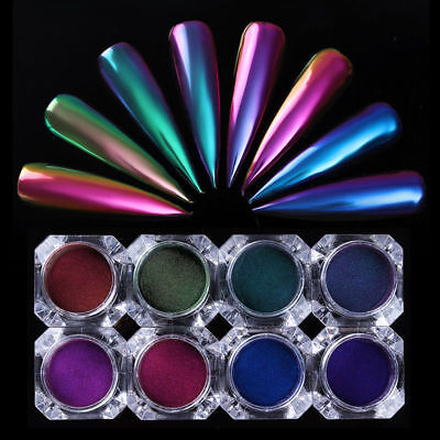 Nail Art Glitter Pearl Power Dust Chrom Pigment Duo Rainbow Mirror Color Shift