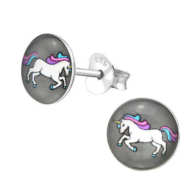 925 Sterling Silver White Purple Pink Unicorn Round Kids Girls Stud Earrings