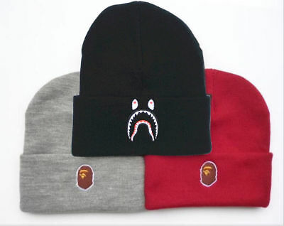 A BATHING APE BAPE Hat Black Shark Head Beanie Logo Winter Men Warm Knitted  Cap d22d31062b2