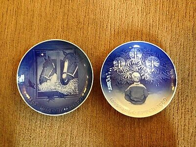 Two Large Royal Copenhagen Christmas Plates - 1895-1975 and 1895-1980