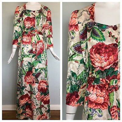 Vintage 40s 50s Floral Peony Print Dressing Gown | Housecoat | L