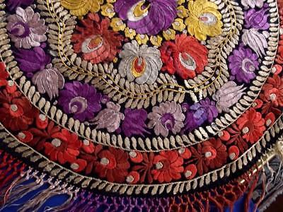 "Antique 1920s Hungarian Matyo Silk Hand Embroidery 25"" Round Centerpiece Topper"
