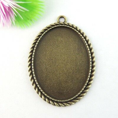 6PCS Antique Bronze Alloy Oval Cameo Setting Pendant Charms Inner 40*30mm 39044