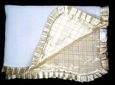 Baby Gear Ivory White Velour Baby Blanket Gold Plaid Tartan Satin Back Pleated