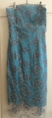 Mother Of The Bride Evening Dress Lace Tulle Grey Flowers Dark Mint Size 12