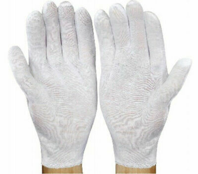 132 Pairs White Inspection Cotton Lisle Work Glove Coin Jewelry Lightweight Men