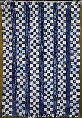 Stunning Antique c1880s INDIGO BLUE QUILT TOP