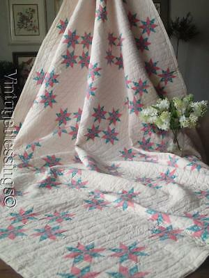 Gift Quality! Antique Tiny 8 Point Stars QUILT Never Used 80x71""
