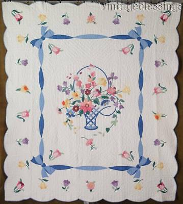 "Glorious! Vintage French Garden Basket APPLIQUE QUILT 83"" x 73"""