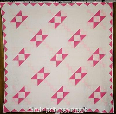 "Sweetest VINTAGE Cottage Pink Cats Cradle QUILT Never Used 80"" x 79"""