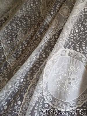 Exquisite! Antique French Normandy Lace Coverlet Lush Embroidery Bridal