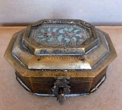 Cosmetic Box Brass with Reverse Painting on Glass Double Opening India C.1900's