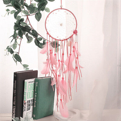 Handmade Pink Shell Dream Catcher with Feathers Wall Hanging Decor Car Ornament