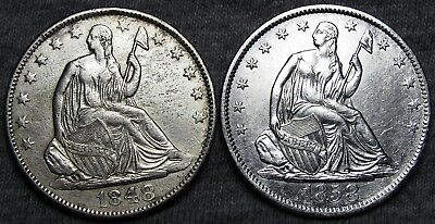 1848-O + 1858-O Seated Liberty Half Dollars --- STUNNING LOT --- #U459