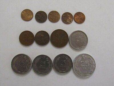 Lot of 13 Different Old Turkey Coins - 1958 to 1985 - Circulated