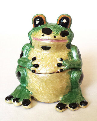 FROG Figurine  Enamel Trinket Jewelry Box, NEW