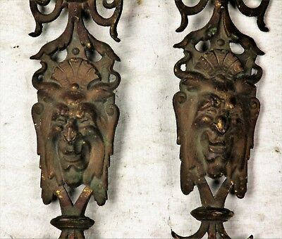 2 Antique Cast Brass Ornate plaques Gothic Wall Hanging Reclaimed Architectural