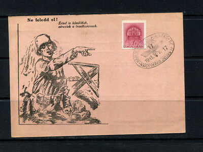 Hungary 1943 Ww2 Pictorial Postal Card Stamp Cover Military Mail ( Two Scans)
