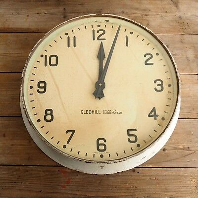 """Large 18"""" Vintage Gledhill Brook Industrial Factory Wall Clock Made In England"""