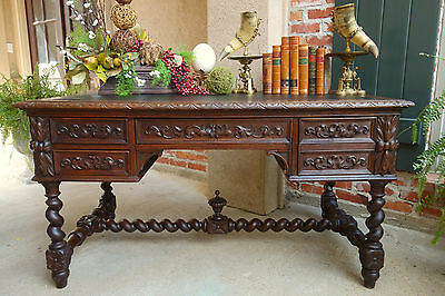 Antique French Carved Oak BARLEY TWIST Renaissance Revival DESK Partner Library