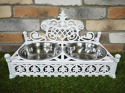 Large Dog-Cat Food Dish Biscuit Raised Cast Iron Food Water Stainless Steel Bowl