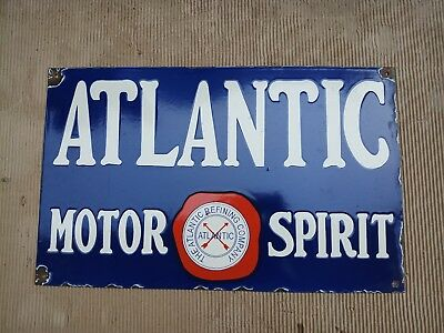 "Porcelain ATLANTIC MOTOR SPIRIT Sign SIZE 15"" X 24"" INCHES"