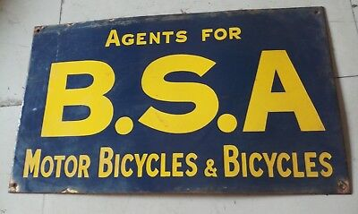 "Porcelain BSA BICYCLES Sign SIZE 14"" X 24"" INCHES"