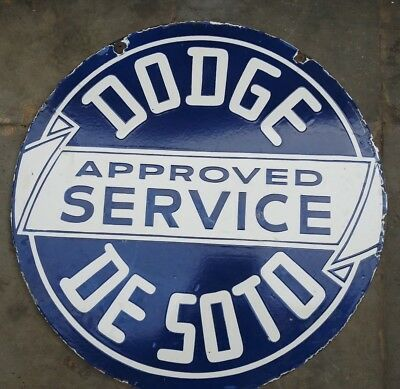 Porcelain Dodge Approved Service Sign 30 Inches Round double sided