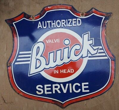 "Porcelain BUICK SERVICE Sign SIZE 28.5"" X 30"" INCHES 2 SIDED"