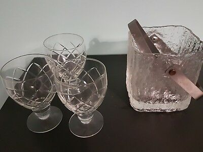 Crystal goblets and ice bucket