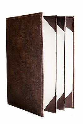 "Menu Covers Made In Italian Faux Leather (10-Pack) - 8.5"" X 11"" - 6 Views Brown"