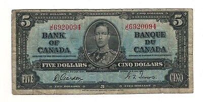 Canada 1937 $5 Bank of Canada Banknote J/C