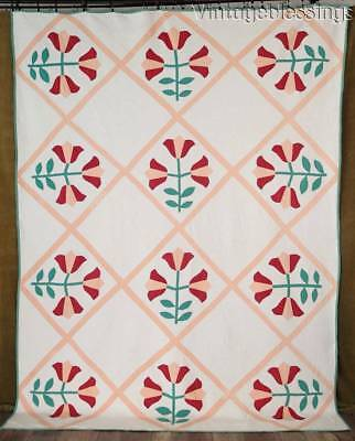 "Great Quilting! Vintage 20s PA Tulips in Green, Peach & Red QUILT 95"" x 72"""