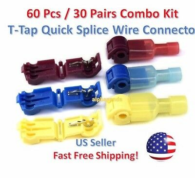 60pc Insulated 22-10 AWG T-Taps Quick Splice Wire Terminal Connectors Combo Kit
