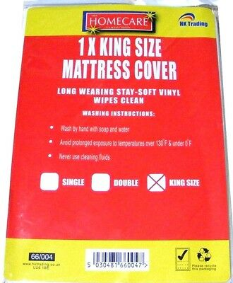 New King Size Soft Vinyl Wipes Clean Mattress Bed Cover Sheet Protector