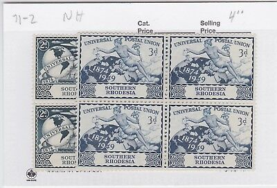 Southern Rhodesia Mint Never Hinged Blocks 71-2 Upu Issue